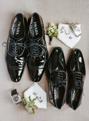 Designer Black Wingtip Shoes with Formal Cufflinks and Watches