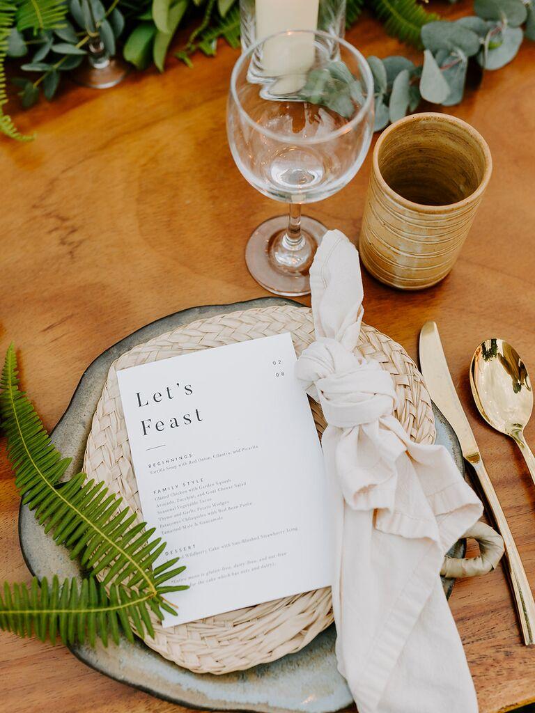 Eco-friendly wedding tablescape
