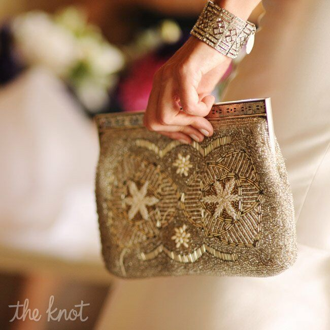 For her something old, Kristen carried a beaded clutch that once belonged to her grandmother.