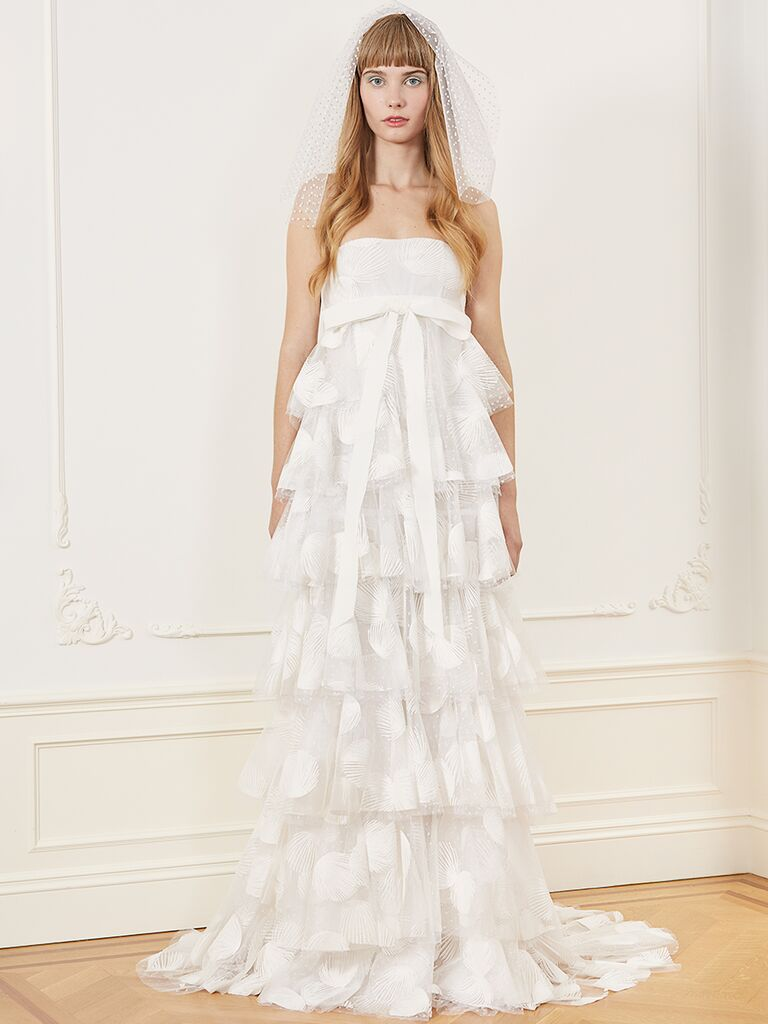 Honor wedding dress with tiered skirt