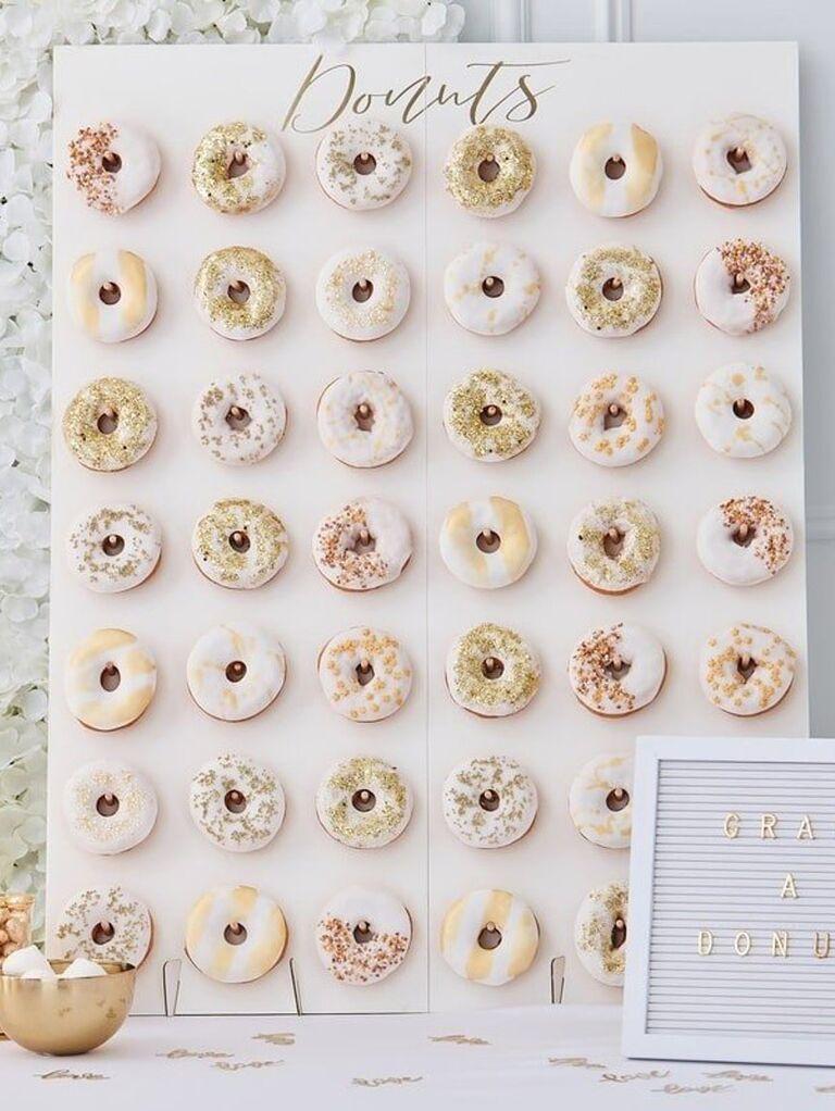 Inexpensive donut wall wedding decoration