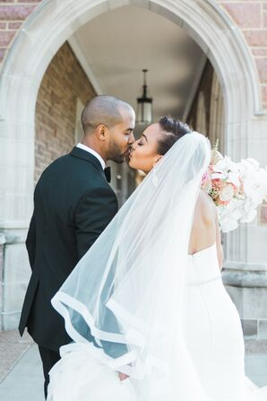 Bride with Bun Updo and Veil