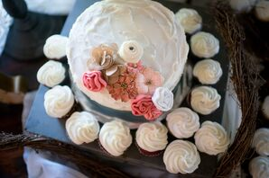 Rustic, One-Tier Wedding Cake with Fabric Flowers
