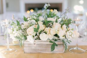 Thistle-Accented Rose Centerpieces in Wood Planter Boxes