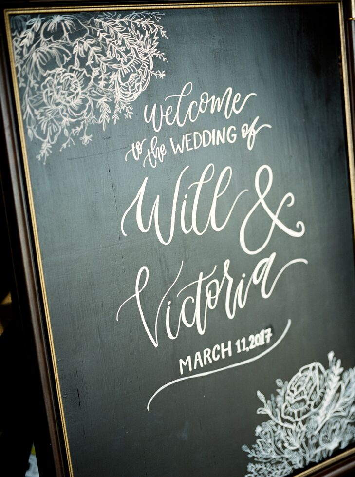 Hand-Lettered Floral Chalkboard Sign