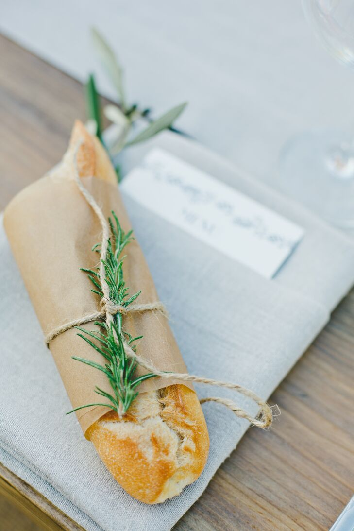 Fresh baguettes were placed at each guest's seat, playing up the rustic vibe of the evening, while also adding a warm, family style feel to dinner.