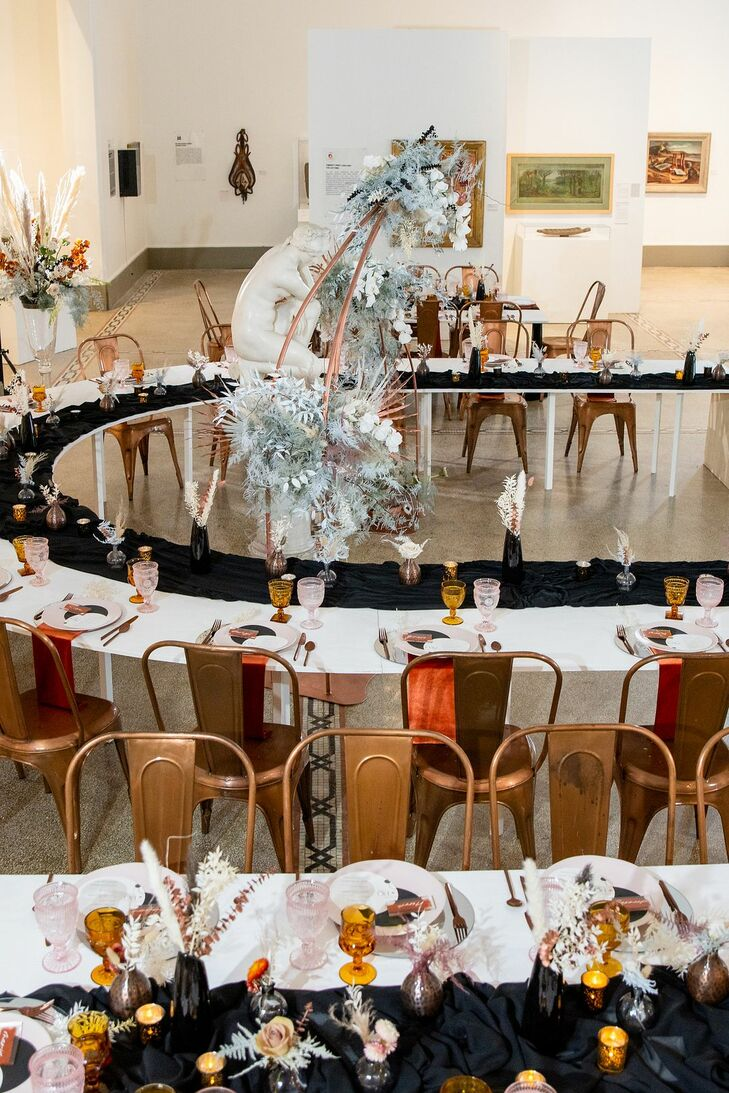 Curved Tables for Reception at the Everhart Museum in Scranton, Pennsylvania
