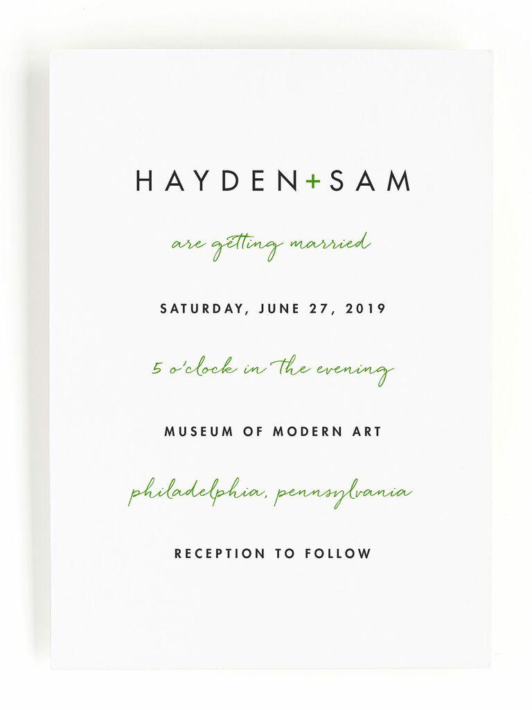 Minted green minimalist spring wedding invitation