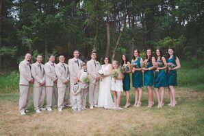 Tan, Green Wedding Party