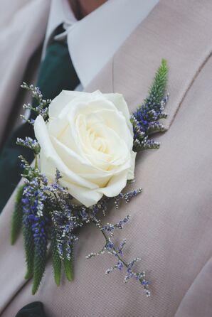 White Rose, Lavender Boutonniere