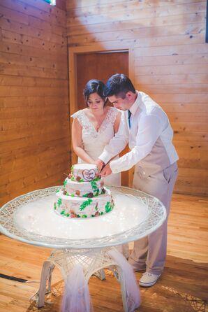Three-Tier Forest-Themed Wedding Cake