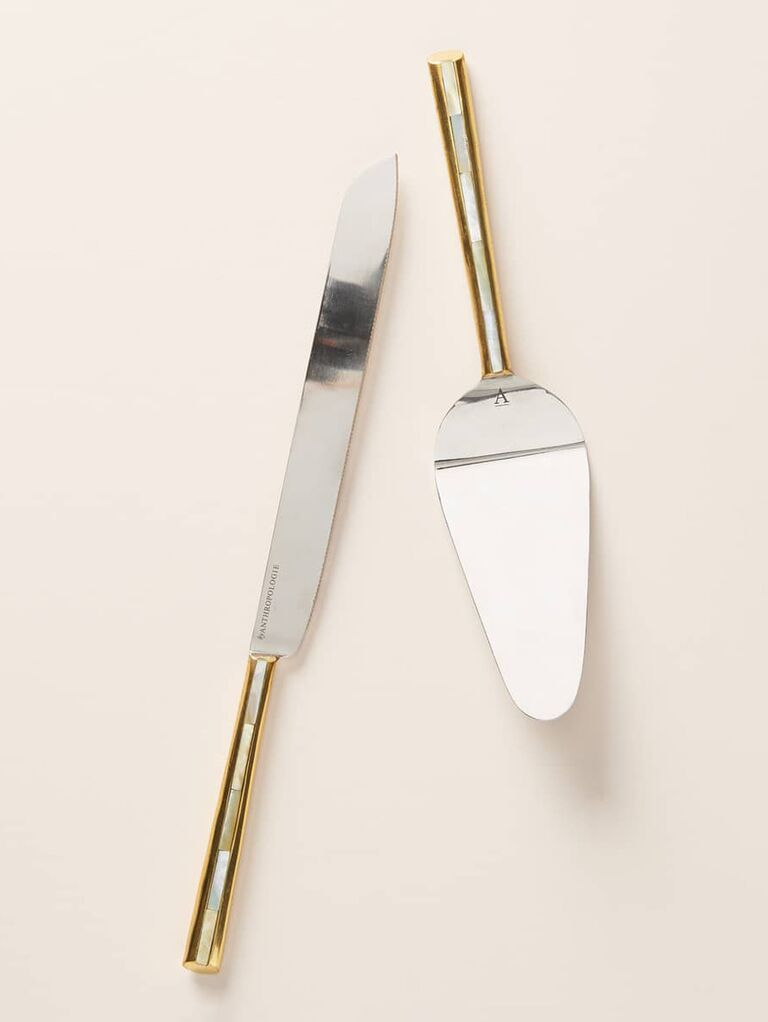 Mother-of-pearl wedding cake knife and server
