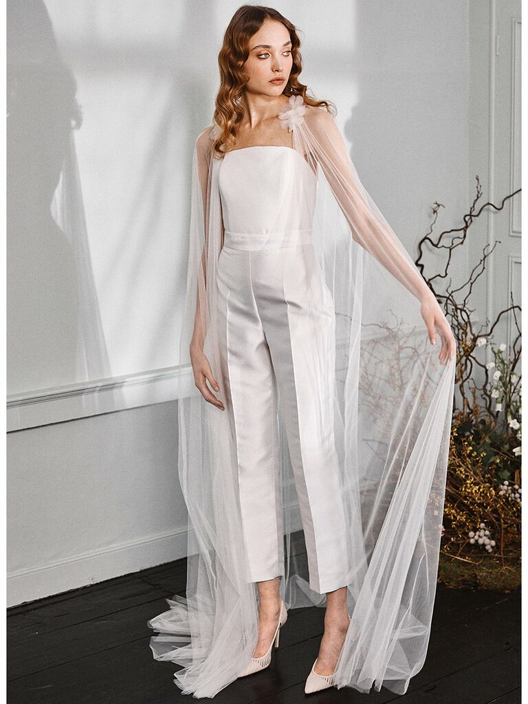 Halfpenny London wedding dress strapless corset top and tailored trousers