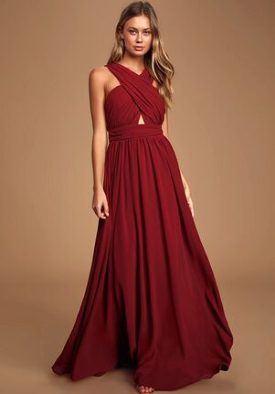 Lulus Divine Inspiration Burgundy Halter Maxi Dress Halter Bridesmaid Dress