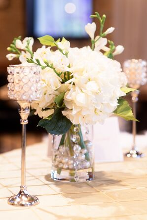White Hydrangea Centerpiece With Candles