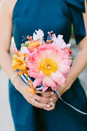 Pink Peony, Orange Orchid, Ombre Rose Bridesmaid Bouquets
