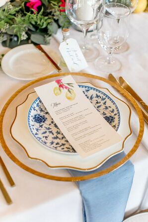 Elegant Place Setting with Patterned Plate and Menu