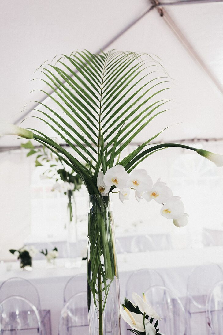 Orchid, Calla Lily and Palm Branch Centerpieces