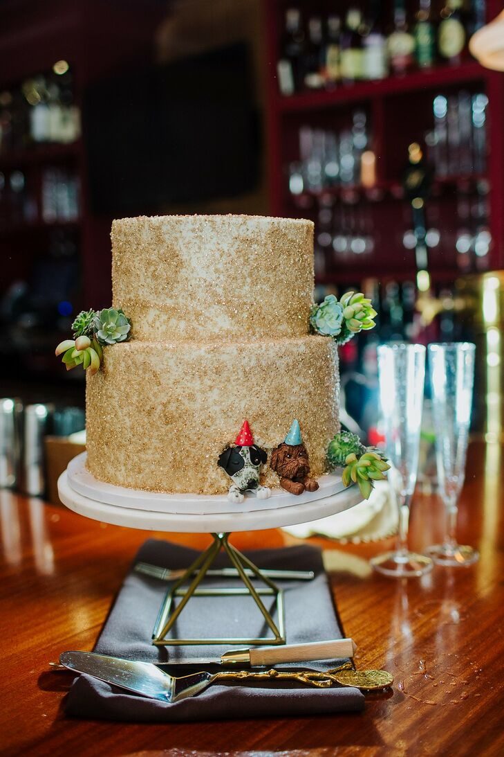 Gold Two-Tiered Wedding Cake with Whimsical Stand