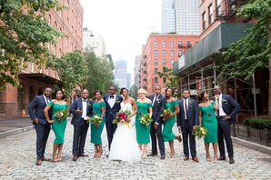 Elegant Emerald Off-the-Shoulder Bridesmaid Dresses