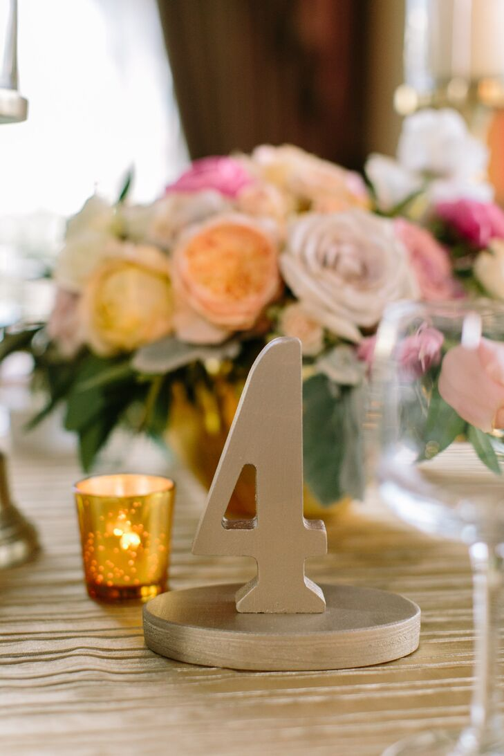 Gold Painted Wood Table Number