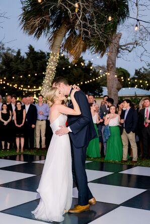 Backyard First Dance with Checkered Dance Floor and String Lights