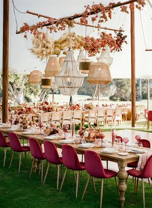 Burgundy Velvet Chairs and Assorted Chandeliers Uner Reception Tent