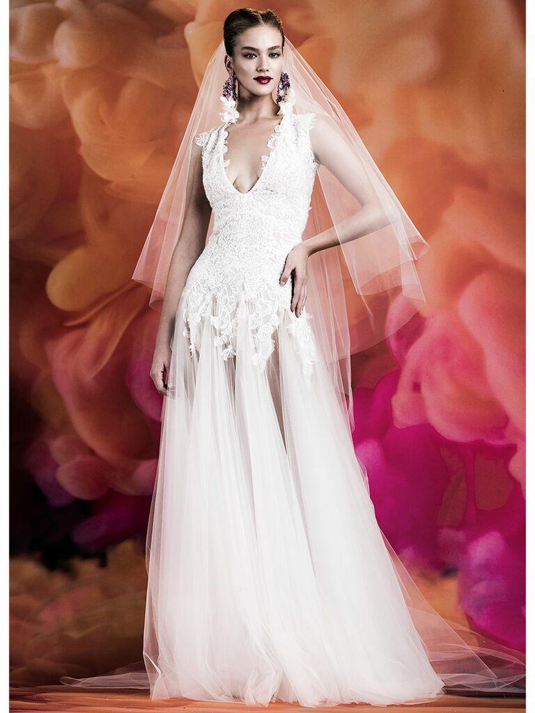Naeem Khan wedding dress trumpet gown with tulle skirt