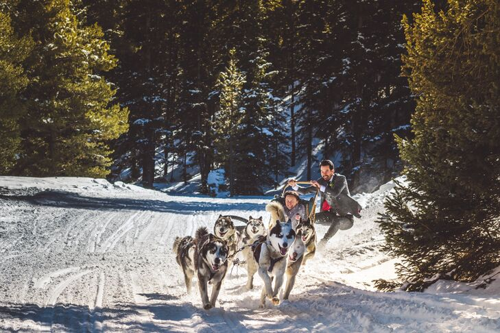 Tuyen and Simon used Good Times Adventures to dogsled to their intimate ceremony site. It was Simon's favorite part.