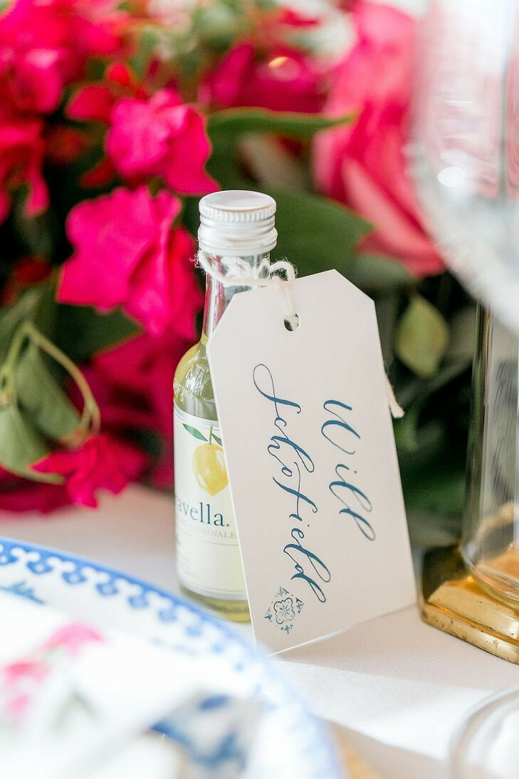 Alcoholic Wedding Favors with Calligraphed Name Tags