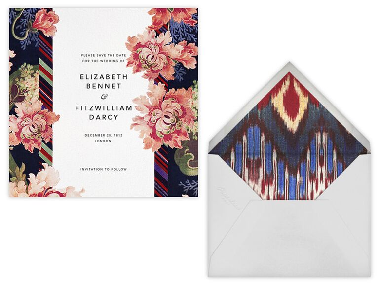 Oscar de la Renta save-the-date card and envelope liner