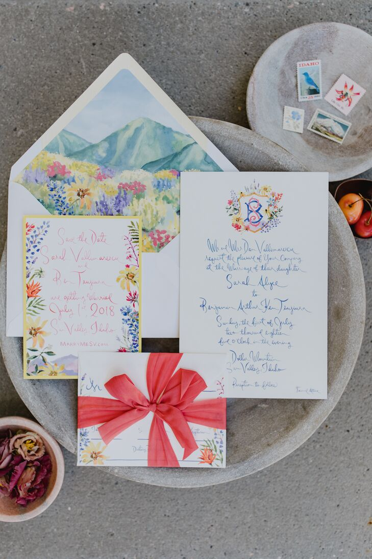 Whimsical Wedding Invitations with Watercolor Mountains and Flowers