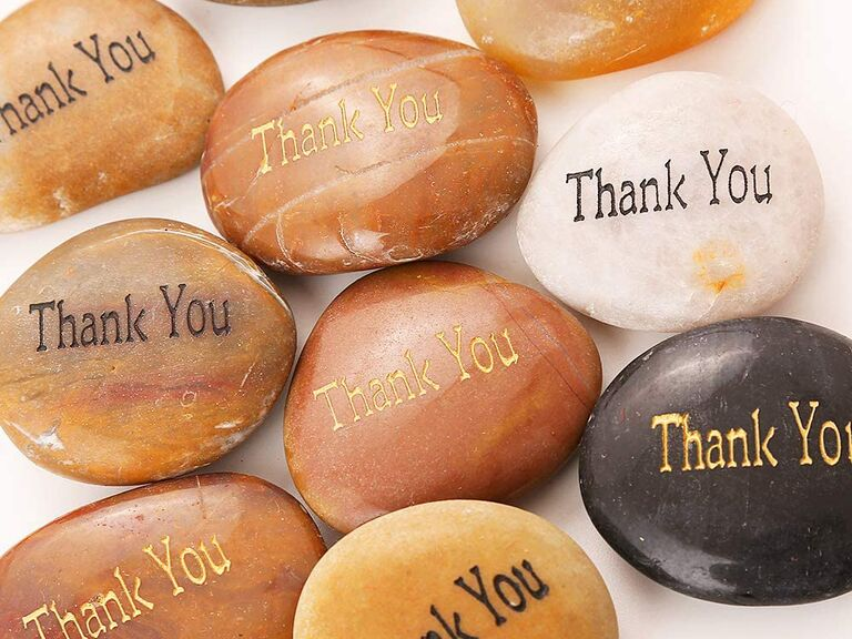 Engraved Thank You stones cheap wedding favors