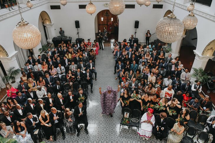Aerial Photo of Wedding Ceremony at Ebell Long Beach in California