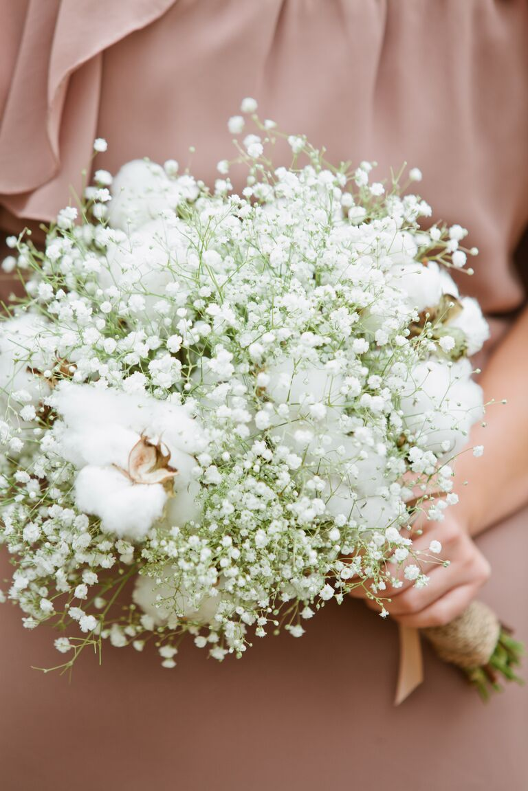 Bridesmaid bouquet with dusty miller, berries and cotton