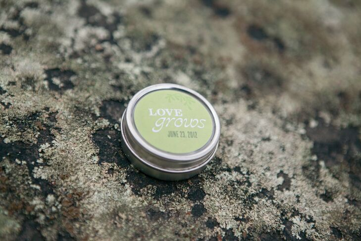 "Each guest received a small tin with a different kind of herb seed for the favor. The tin had a sticker on the top that said ""love grows"" and a second sticker on the bottom with directions for planting.  We wanted to give something that was easily portable since our guests were all traveling and something that our guests could use and enjoy."