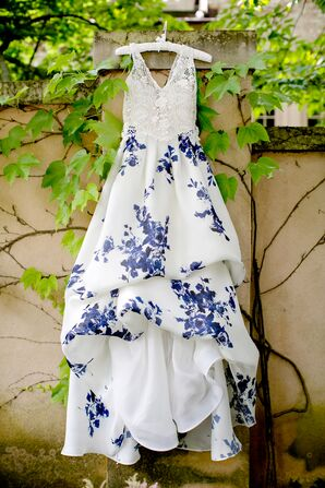Bride's Wedding Dress With Blue Floral Design