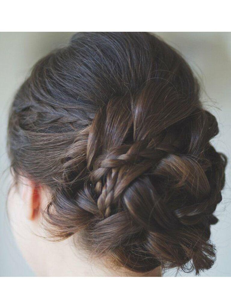 wedding braid hairstyles low bun with braids of different size