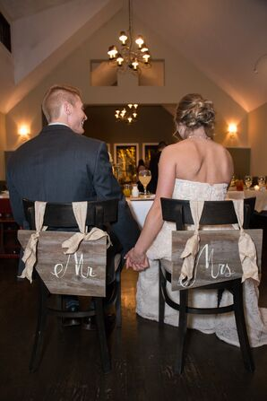 Wooden Mr. and Mrs. Reception Chair Signs
