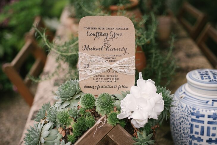 The wedding invitations fit with the day's rustic, natural vibe.