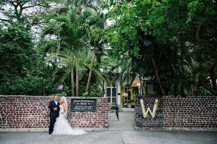 """""""Bryan and I selected Hemingway Home for its history and charm and we loved the idea that it would be exclusively ours for the wedding ceremony and reception,"""" Lona says."""