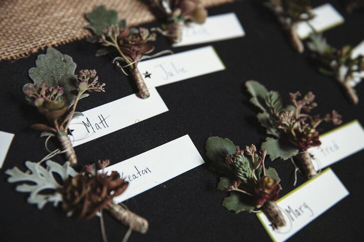 Alissa and Jeanne chose to forgo bouquets--the couple and the wedding party instead wore succulent boutonnieres.