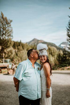 Bohemian Bride with Traditional Alaskan Yupik Eskimo Headdress
