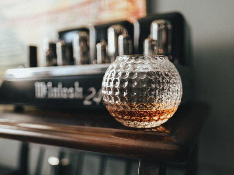 golf ball whiskey glass gift for husband