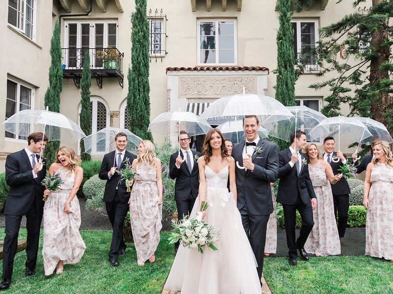 Wedding Party With Clear Umbrellas