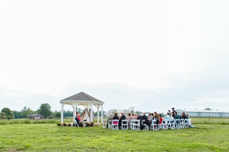 Kelsey's dad built the gazebo where she and Brandon said their vows. They included personal touches throughout their ceremony: A friend officiated, Kelsey's cousin played the piano, and they read a Bible verse they had shared on their car dashboards even before they started dating.