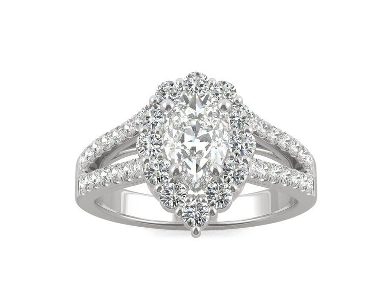 Charles & Colvard signature pear halo split shank mossanite engagement ring in 14K white gold