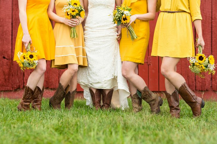 Meredith told her bridesmaids the color of their dress would be yellow, and then let them make the rest of the attire choices based on their own style. All the bridesmaids wore brown cowboy boots, which matched Meredith's shoes.