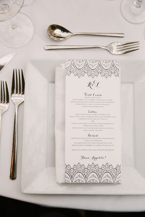 Black and White Menu Card with Lace Pattern