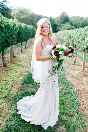 Rustic Burgundy Dahlia Bridal Bouquet